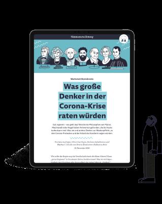 Tablet mit Osterausgabe der Süddeutschen Zeitung