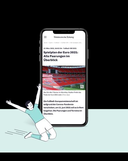 Tablet mit EM-Ausgabe der Süddeutschen Zeitung